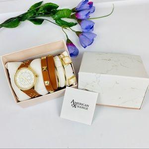 American Exchange Watch & Bracelet Set